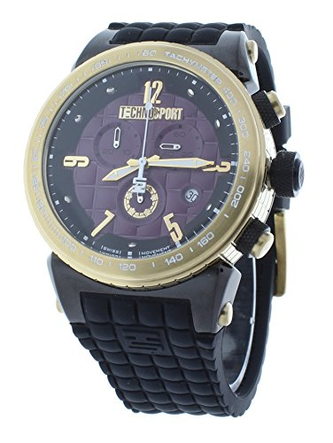 Technosport TS-1300-6 Men's Gold-Tone Checkered Case Swiss Chrono Watch Purple Dial Black Silicone Strap