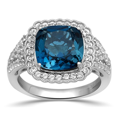 Jewelili Sterling Silver 10mm London Blue Topaz Cushion, Round White Topaz and 1.5mm Round Emerald Stone on Both Side Halo Ring, Size 7