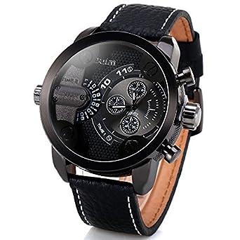 8a70be4b90e Amazon.com  Oulm Mens Fashion Dural Movements Vogue Military Quartz ...