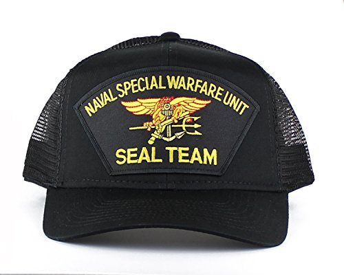 Military Navy Seal Team Large Embroidered Iron On Patch Snapback Trucker Cap (Black)