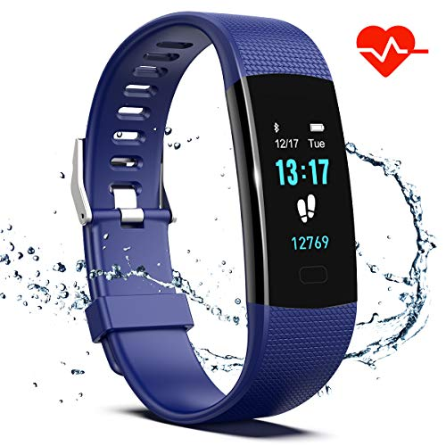 Saikee Fitness Tracker, Activity Tracker Watch with Heart Rate Monitor, Sleep Monitor, Step Counter Fitness Watch IP67 Waterproof Pedometer, Compatible with iPhone & Android (Blue)