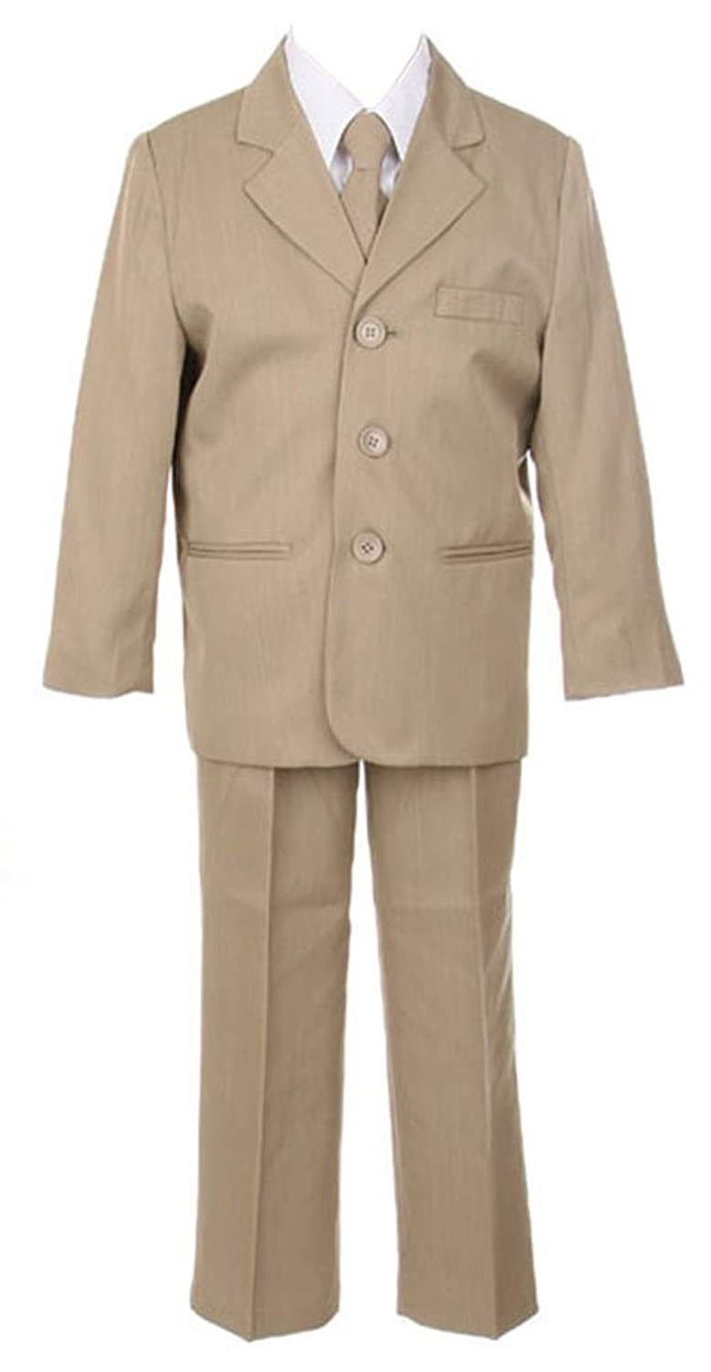 new Sweet Kids Boys 3 Button Dinner Suit 8 Taupe (Sk M104B) save more