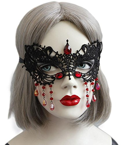 KingsCat Gothic Style Half-face Black Lace Mask Vampire
