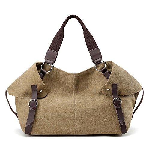 Portable Travel Kaki Shoulder Ladies Canvas Fashion Messenger qPtxH