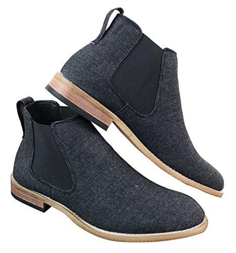 Mens Black Jeans Denim Slip On Chelsea Dessert Dealer Boots Shoes Smart Casual Black DxtN8