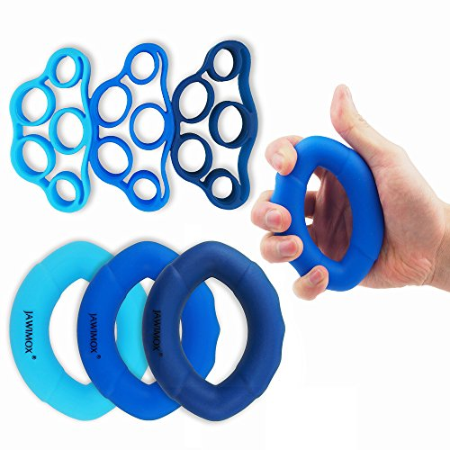 Hand Grip Strengthener Workout Kit (6 Pack) Ergonomic Silicone Finger Exerciser Rings 30-40-50LB Strengthen Your Grip and Forearms for Men Women of All Ages By Jawimox by Jawimox