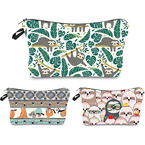 Portable Makeup Bag Organizer Travel Magic 3D Printing Cosmetic Bags Waterproof Pen Cases Brush Storage Pouch for Women Purse Tree Sloths