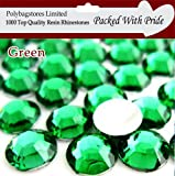Pack of 1000 x Green 3mm Crystal Flat Back Rhinestone Diamante Gems *Factory Sealed & Labelled*