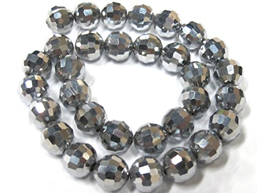 1 strand - 10 mm size Faceted bicone AB silver steel mirror color crystal glass beads - AB044