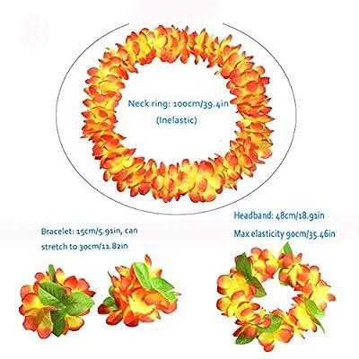 Hawaiian Luau flower Leis Jumbo necklaces bracelets headband set: Toys & Games