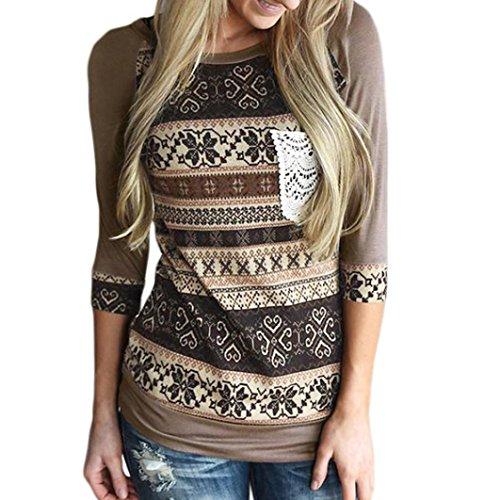 Retro Khaki Shirts (Elogoog Clearance! Women Retro Floral Print Blouse Pocket Shirt Casual O Neck Long Sleeve Top (L, Khaki))