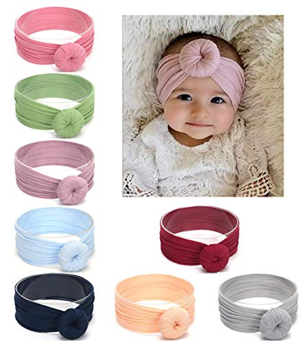 DANMY Baby Girl Nylon Headbands Newborn Infant Toddler Hairbands and Bows Child Hair Accessories (DGH (8pcs))