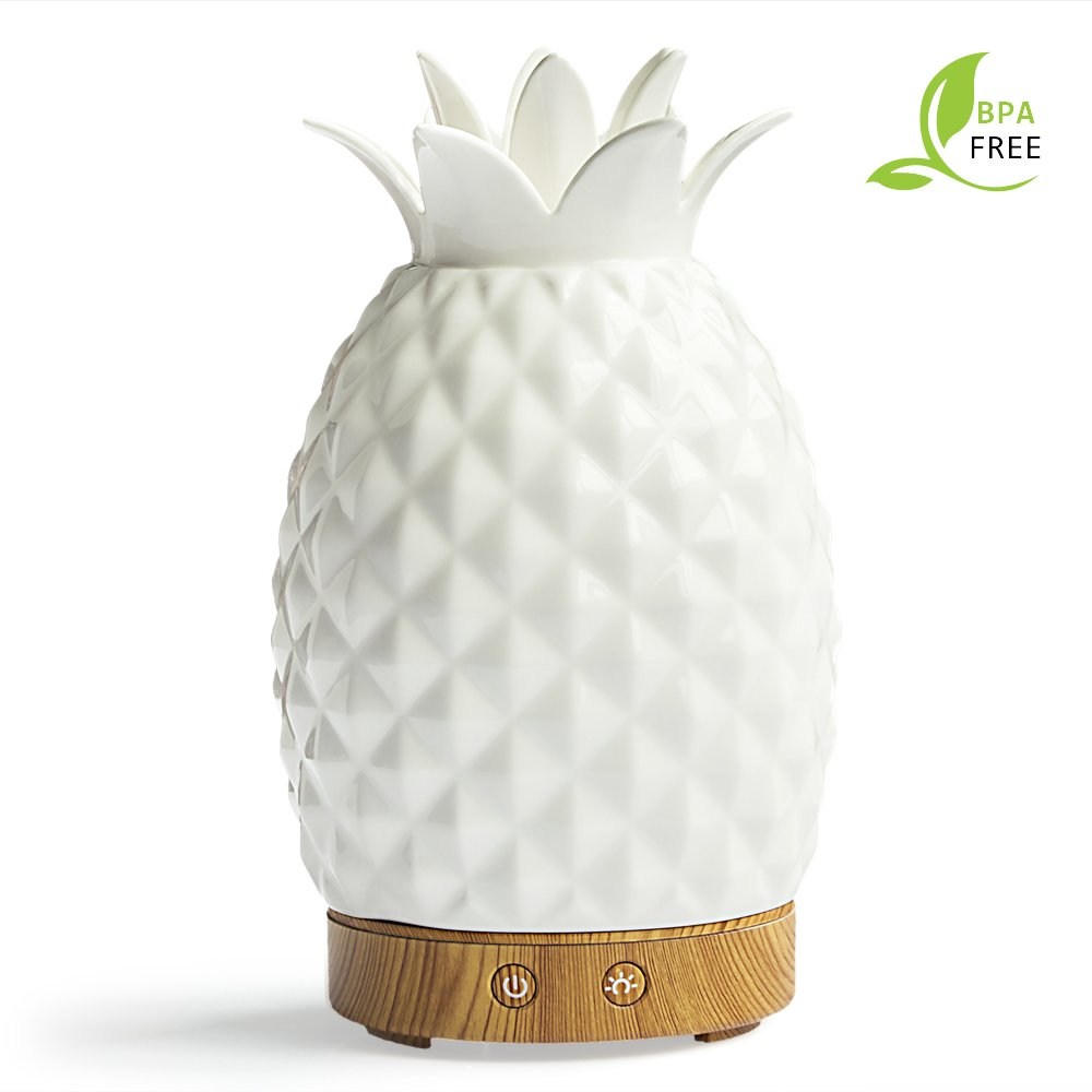 Essential Oil Diffuser -120ml Cool Mist Humidifiers -14 Color LED Nihgt lamps -Crafts Ornaments All in One is The Round Rich Upgrade Whisper-Quiet Ultrasonic Ceramics Pineapple Humidifiers US120V