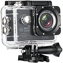 HiCool Action Camera FHD 1080P Sports Camera Built-in WiFi 140 Degree Wide-Angle Lens IP68 Certified Waterproof Camera Diving up to 30 Meters