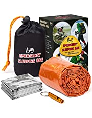 Vijoly Emergency Sleeping Bag - Survival Sleeping Bag, Emergency Bivy Sack with Safety Whistle, Ultralight Waterproof Thermal, for Outdoor, Camping, Hiking, Car Emergency + Emergency Survival Blanket