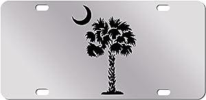 JASS GRAPHIX Black Palm Tree Crescent Moon Mirror License Plate South Carolina Beach Logo Car Tag