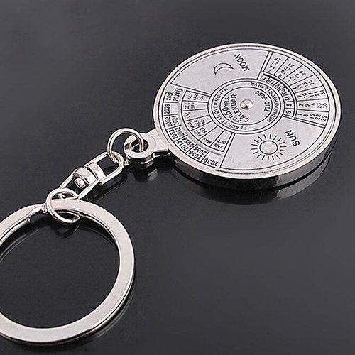 50 Years Perpetual Calendar Keyring Keychain Silver Alloy Key Chain Ring Keyfob lyhhai