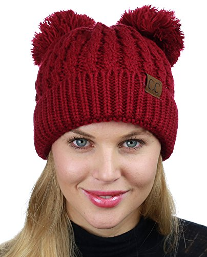 C.C 2 Ear Pom Pom Cable Knit Soft Stretch Cuff Skully Beanie Hat, ()