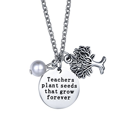 "CJ&M Personalized Teachers Gift Graduation Gift - ""Teachers Plant Seeds That Grow Forever"" Teacher Necklace Christmas Gifts for Teacher, Gift from Student, Teacher Gift, Teacher Jewelry"