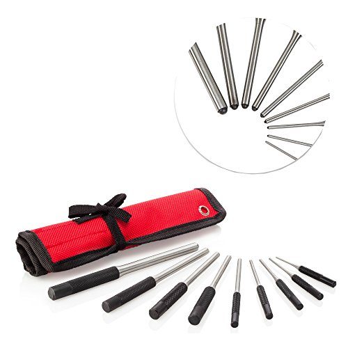 Taper Roll (Grip Roll Pin Punch Set, 9 Pieces With Red Storage Pouch - TuffMan)