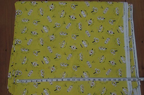 Despicable Me - Minions Eyes Cotton Fabric - Yellow Background - 44 Inches Wide - Sold by the -