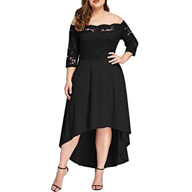 01fbe593494 COGIGI Plus Size Women Casual Dress Three Quarter Sleeve Ladies Off  Shoulder Dress Boho Lace Long Dress at Amazon Women s Clothing store