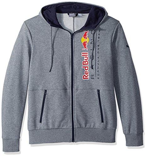 (PUMA Men's Red Bull Racing Logo Hooded Sweat Jacket, Medium Gray Heather, M )