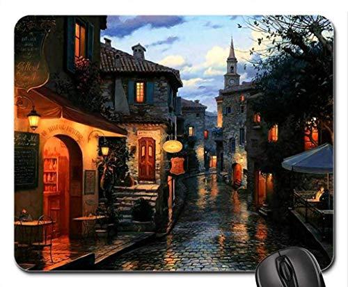 BGLKCS Evening Street Scene F5 Mouse Pad/Mouse Mat, Mousepad Houses Mouse Pad/Mouse Mat - Evening Street Scene