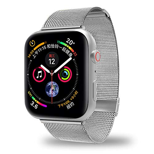Stainless Steel Metal Band - AWOOWELL for Watch Band 38mm 40mm,Stainless Steel Mesh Metal Loop with Adjustable Magnetic Closure Replacement Bands for Iwatch Series 4 3 2 1 Silver