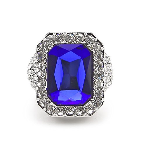 HongBoom Hot Hip Hop Rings 18K Gold Silver Plated CZ CRYSTAL Fully Iced-Out CUBAN Blue Ruby Ring (Silver/US size 8)