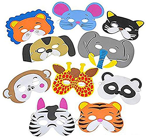 Kicko Foam Funny Animal Mask - 12 Pack for Kids and All Ages, Party, Halloween, Dress-up, Prop, Costume with Elastic Strap -