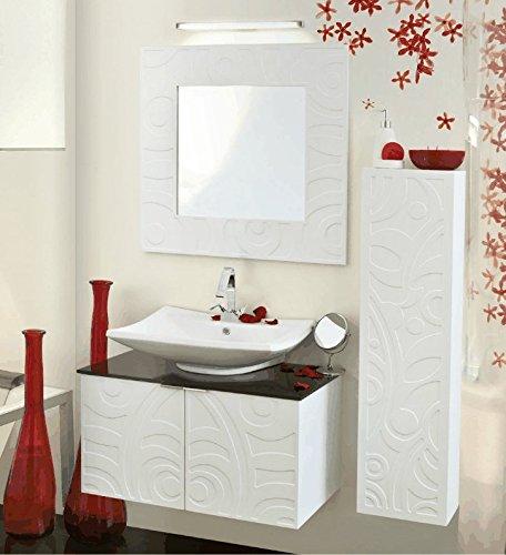 Arredo Bagno 80 con lavabo d\'appoggio Bianco: Amazon.it ...