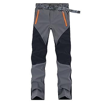 Pantalones de Trekking Pantalones de Softshell Impermeables Resistente al Viento Transpirable Lana Artificial Forrado Pantalones de Escalada Hombre Mujer