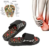 Massage slippers with 41 acupressure points, 180 ° rotatable Magnetotherapy Tai Chi massage shoes to reduce foot pain for men and women (40-41(Black))