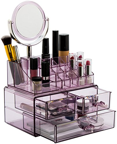Sorbus Acrylic Cosmetic Makeup and Jewelry Storage Case Display with Removable Magnifying Mirror - Spacious Design - Great for Bathroom, Dresser, Vanity, and Countertop (Purple)