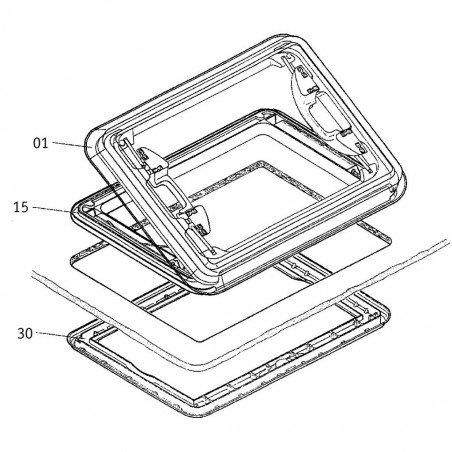 DOMETIC Heki 1 Grundrahmen Komplett Ohne Zwangsentlüftung und Glas Ohne Glas und Creme-weiß f81f10