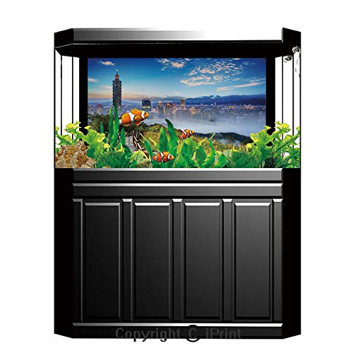 Terrarium Fish Tank Background,Scenery Decor,Beautiful Scenery of a City Cosmopolitan Life and Nature with Bridge Print,Multicolor,Photography Backdrop for Pictures Party Decoration,W48.03