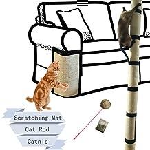 Cat Scratch Mat Cat Scratching Post Refill Mat + Catnip + Cat Rod, Natural Sisal Refresh Replacement for Cat Tree Cloth Sofa 16X12 IN
