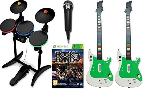 XBox 360 ROCK BAND 3 Video Game w/2 GUITARS, Hero Wireless Drums Bundle Set