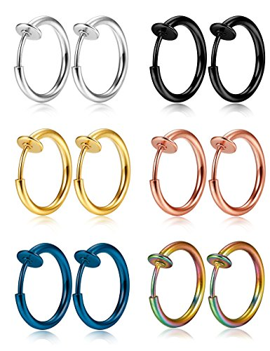 Thunaraz 6-12Pcs Stainless Steel Fake Hoop Earrings for Cartilage 12MM Non-pierced Nose Ring Clip On Body Jewelry