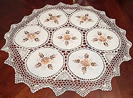 Handmade Tablecloth Silk Ribbon Embroidery Exquisite Crochet Panels Cotton  Fabric Linens Vintage Wedding Tablecloths (36