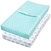 Waterproof Changing Pad Cover, 2 Pack Mint & Elephant Fitted Soft Jersey Cotton