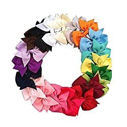 Acecharming 12pcs Girls Sparkle Glitter Shinning Sequin Hair Bow Clip Barrettes Headbands