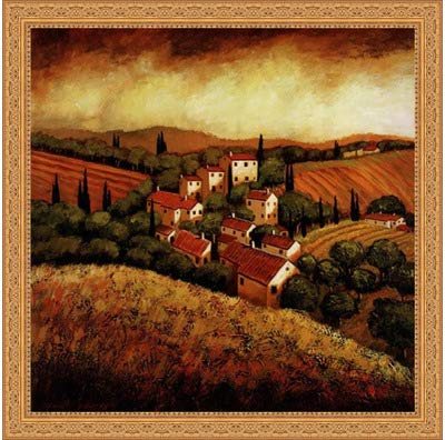 (Framed Tuscan Hillside Village- 24x24 Inches - Art Print (Ornate Gold Frame))