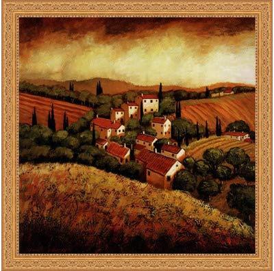 Framed Tuscan Hillside Village- 24x24 Inches - Art Print (Ornate Gold ()