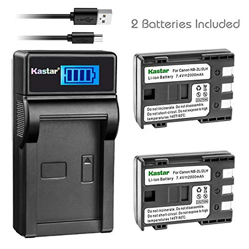 Kastar Battery (X2) & LCD Slim USB Charger for Canon NB-2L NB-2LH NB-2L12 NB-2L14 NB-2L24 BP-2L5 BP-2LH and Canon EOS Digital Rebel XT Xti Cameras ()