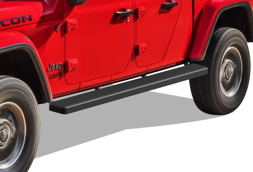 Nerf Bars Side Steps Side Bars APS iBoard Running Boards 5-inch Matte Black Custom Fit 2020-2021 Gladiator Crew Cab Pickup 4-Door