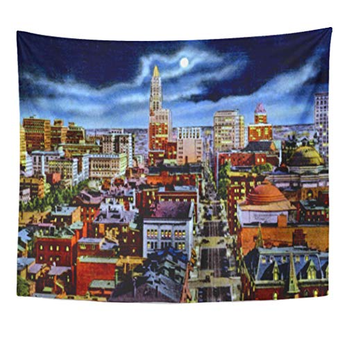 Semtomn Tapestry Artwork Wall Hanging Cityscape Baltimore Maryland Skyline Night Urban 60x80 Inches Home Decor Tapestries Mattress Tablecloth Curtain Print