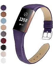 KIMILAR Armbanden compatibel met Fitbit Charge 4 / Charge 3 armband, leer, reserveband, tweekleurig, horlogeband voor Charge 4/3/SE fitnesstracker