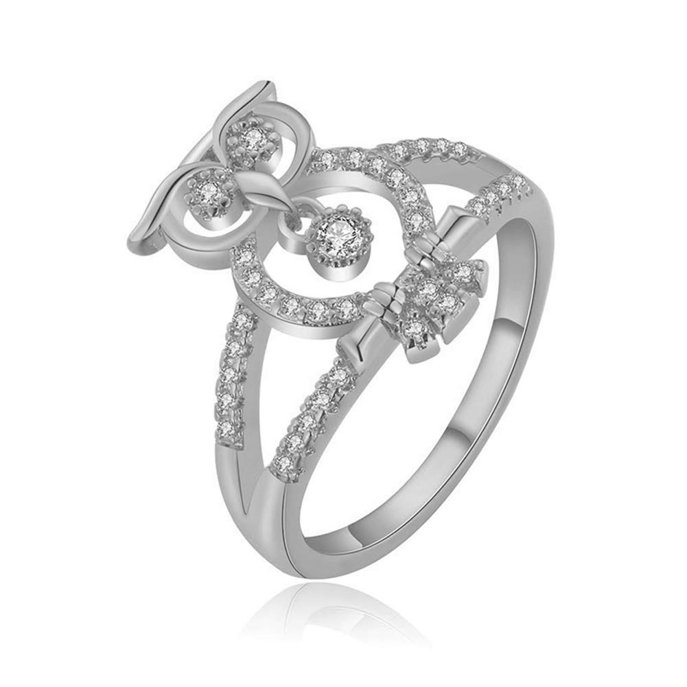 Alamana Hollow Owl Rhinestone Fashion Women Party Banquet Finger Ring Jewelry Gift Golden Size 20